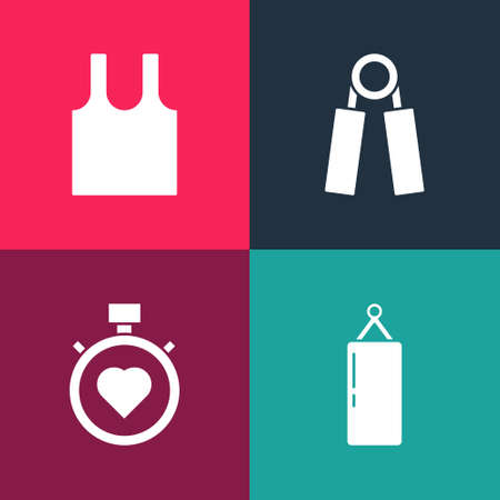 Set pop art Punching bag, Heart the center stopwatch, Sport expander and Sleeveless T-shirt icon. Vector