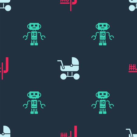 Set Basketball backboard, Baby stroller and Robot toy on seamless pattern. Vector Vektorové ilustrace