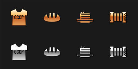 Set USSR t-shirt, Bread loaf, Medovik and Accordion icon. Vector