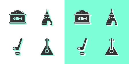 Set Balalaika, Tin can with caviar, Ice hockey stick and puck and The Tsar bell icon. Vector