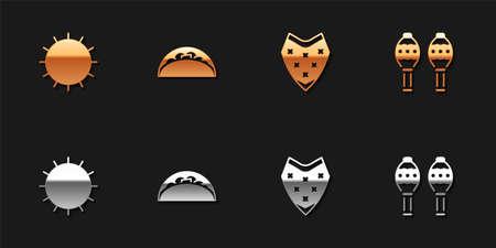 Set Sun, Taco with tortilla, Poncho and Maracas icon. Vector
