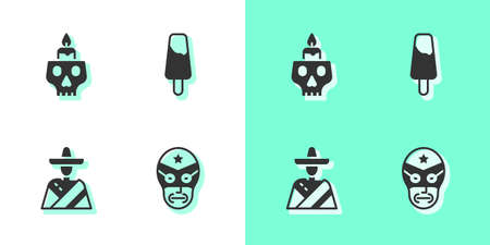 Set Mexican wrestler, Burning candle on skull, man sombrero and ice cream icon. Vector