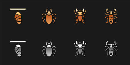 Set Butterfly cocoon, Beetle deer, and icon. Vector