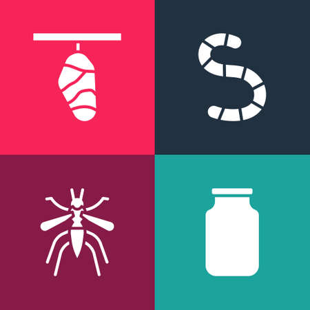 Set pop art Glass jar, Mosquito, Worm and Butterfly cocoon icon. Vector