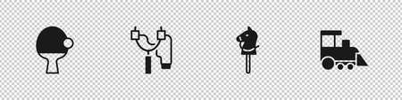 Set Racket and ball, Slingshot, Toy horse and train icon. Vector