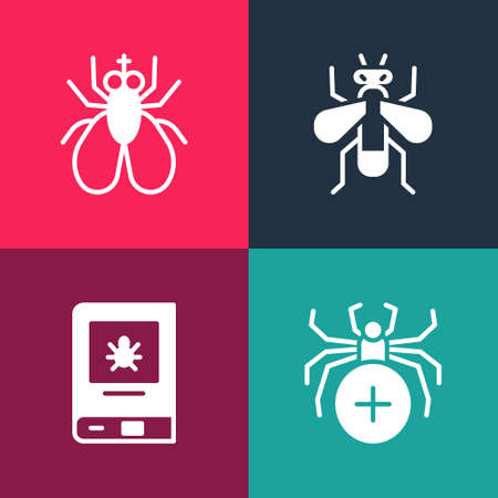 Set pop art Spider, Book about insect, Insect fly and icon. Vector