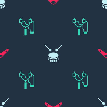 Set Boomerang, Drum with drum sticks and Slingshot on seamless pattern. Vector