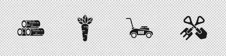 Set Wooden logs, Carrot, Lawn mower and Shovel and rake icon. Vector