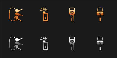 Set Bunch of keys, Car with remote, and Lock picks for lock picking icon. Vector