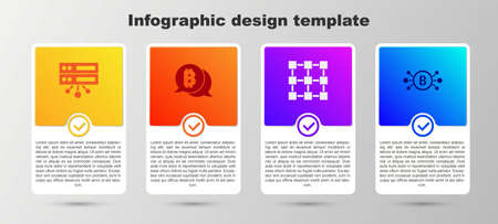 Set Server, Bitcoin, Blockchain technology and circuit. Business infographic template. Vector