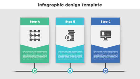 Set Blockchain technology, Bitcoin and Mining bitcoin from monitor. Business infographic template. Vector Vector Illustration