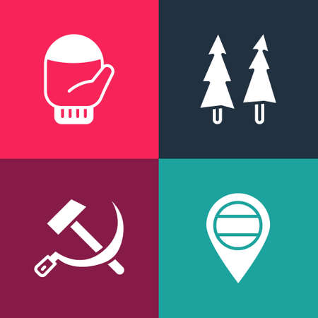 Set pop art Location Russia, Hammer and sickle USSR, Christmas tree and mitten icon. Vector