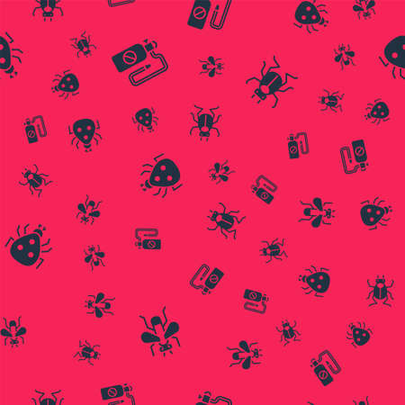 Set Insect fly, Pressure sprayer, Ladybug and Beetle on seamless pattern. Vector