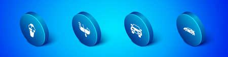 Set Isometric Ice cream, Car, Sport racing car and Gondola icon. Vector Vektorgrafik