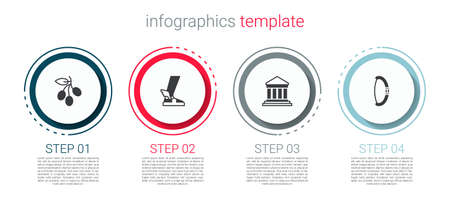 Set Olives branch, Hermes sandal, Parthenon and Medieval bow. Business infographic template. Vector