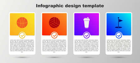Set Basketball ball, Volleyball, Fitness shaker and Golf flag. Business infographic template. Vector