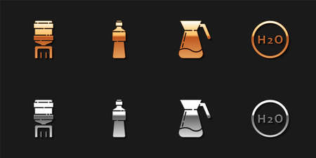 Set Water cooler, Bottle of water, Jug glass with and Chemical formula for H2O icon. Vector