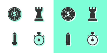 Set Stopwatch, Casino chips, Pencil with eraser and Business strategy icon. Vector