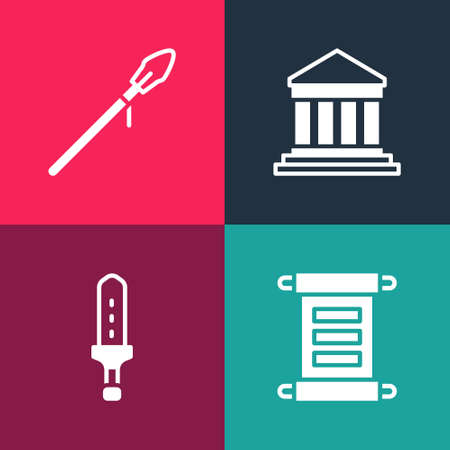 Set pop art Decree, parchment, scroll, Medieval sword, Parthenon and spear icon. Vector