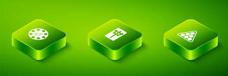 Set Isometric Mahjong pieces, Billiard balls in triangle and Twister game icon. Vector Фото со стока - 165852418