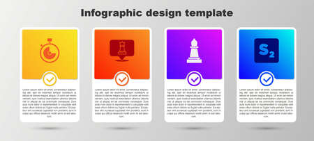 Set Stopwatch, Chess, and Bingo. Business infographic template. Vector
