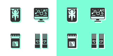Set Medical rubber gloves, Experimental animal, Jar with additives and Genetic engineering modification icon. Vector