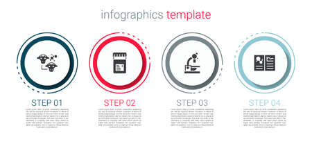 Set Cloning, Jar with additives, Microscope and Clinical record. Business infographic template. Vector
