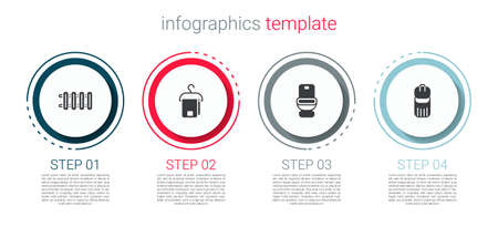 Set Heating radiator, Towel on hanger, Toilet bowl and Trash can. Business infographic template. Vector