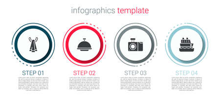 Set Towel on a hanger, Covered with tray, Photo camera and Cruise ship. Business infographic template. Vector