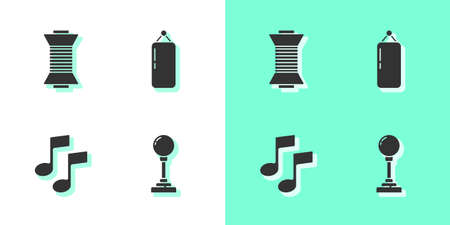 Set Joystick for arcade machine, Sewing thread on spool, Music note, tone and Punching bag icon. Vector