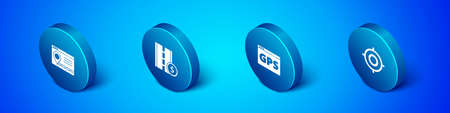 Set Isometric Infographic of city map navigation, Gps device with, Target sport and Toll road traffic sign icon. Vector