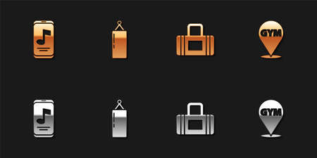 Set Music player, Punching bag, Sport and Location gym icon. Vector