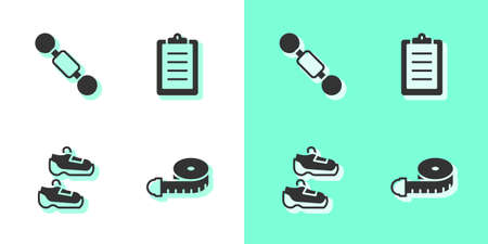 Set Tape measure, Dumbbell, Sport sneakers and training program icon. Vector