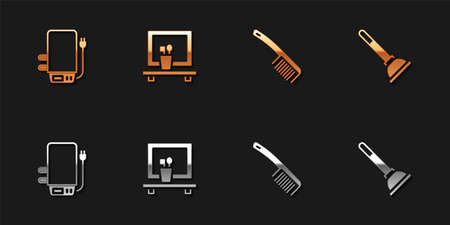 Set Electric boiler, Washbasin mirror, Hairbrush and Rubber plunger icon. Vector
