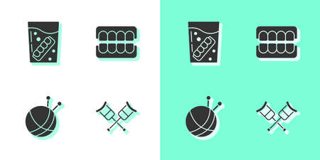 Set Crutch or crutches, False jaw in glass, Yarn ball with knitting needles and icon. Vector