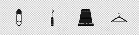 Set Safety pin, Awl tool, Thimble for sewing and Hanger wardrobe icon. Vector