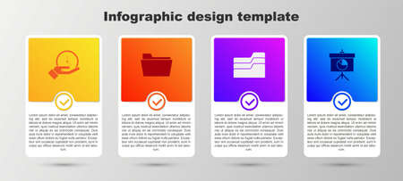 Set Clock, Document folder, and Chalkboard with diagram. Business infographic template. Vector