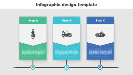 Set Rocket ship with fire, Tow truck and Submarine. Business infographic template. Vector