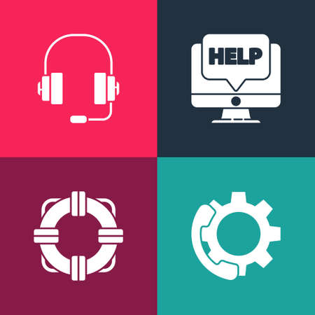 Set pop art Telephone 24 hours support, Lifebuoy, Computer monitor and help and Headphones icon. Vector Ilustración de vector