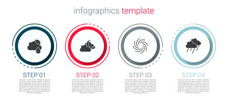 Set Cloud with rain and sun, moon, Tornado and . Business infographic template. Vector