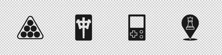 Set Billiard balls in triangle, Mahjong pieces, Tetris and Chess icon. Vector
