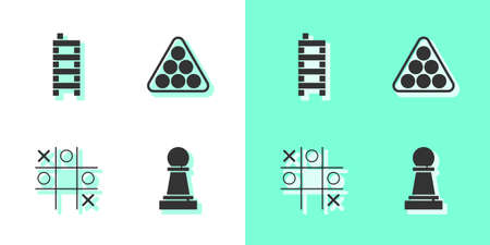 Set Chess, Mahjong pieces, Tic tac toe game and Billiard balls in triangle icon. Vector
