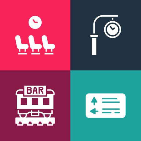 Set pop art Road traffic signpost, Restaurant train, Train station clock and Waiting room icon. Vector