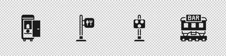 Set Toilet in the train car, Cafe and restaurant location, Train traffic light and Restaurant icon. Vector