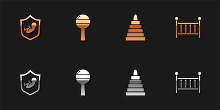 Set Baby on shield, Rattle baby toy, Pyramid and crib cradle icon. Vector