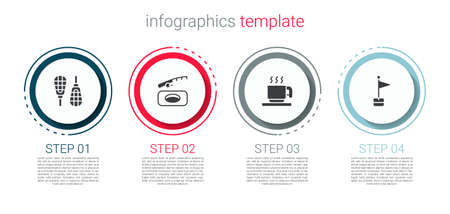 Set Snowshoes, Winter fishing, Hot chocolate cup and Location marker. Business infographic template. Vector Векторная Иллюстрация