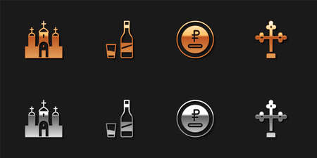 Set Church building, Bottle of vodka with glass, Rouble, ruble currency and Christian cross icon. Vector