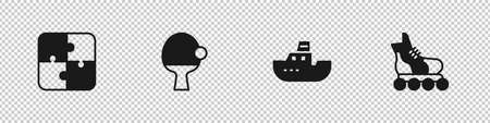 Set Puzzle pieces toy, Racket and ball, Toy boat and Roller skate icon. Vector Vektorgrafik