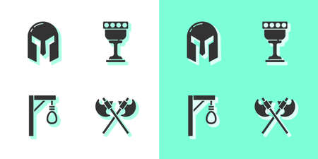 Set Crossed medieval axes, Medieval iron helmet, Gallows and goblet icon. Vector