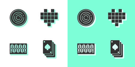 Set Playing cards, Checker game chips, Board and Pixel hearts for icon. Vector
